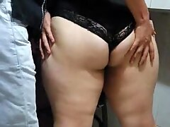 Massaging a Big Fat Ass and almost Busted