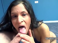 Petite MILF Naomi Shah is on her knees for a POV blowjob
